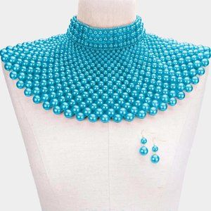 Gold Turquoise Pearl Armor Bib Choker Necklace